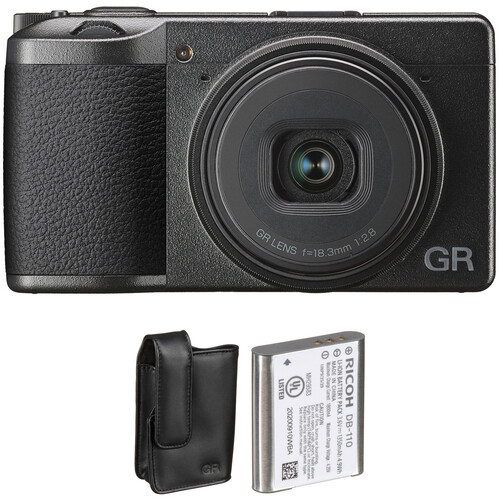 Ricoh GR III Digital Camera with Case and Battery Kit
