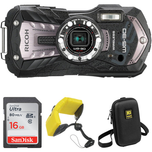 Ricoh WG-30W Digital Camera Basic Accessory Kit (Carbon Gray)