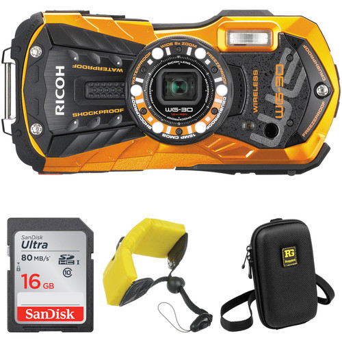 Ricoh WG-30W Digital Camera Basic Accessory Kit (Flame Orange)