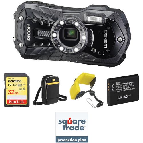 Ricoh WG-50 Digital Camera Deluxe Kit (Black)