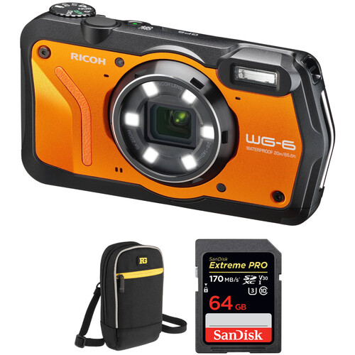Ricoh WG-6 Digital Camera with Accessories Kit (Orange)