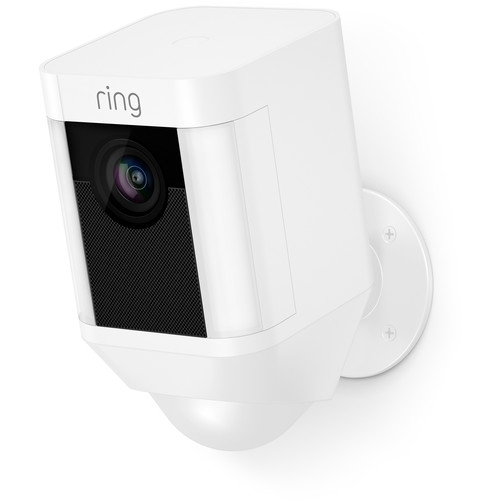 Ring Spotlight Cam 1080p Outdoor Wi-Fi Camera with Night Vision (Battery-Powered, White)