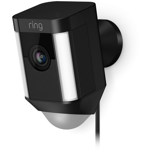 Ring Spotlight Cam 1080p Outdoor Wi-Fi Camera with Night Vision (Wired, Black)
