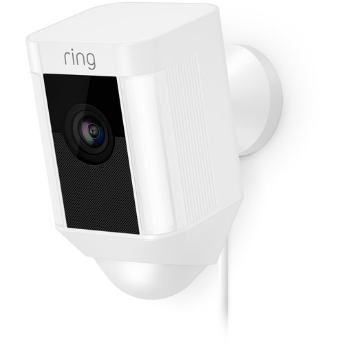 Ring Spotlight Cam 1080p Outdoor Wi-Fi Camera with Night Vision (Wired, White)