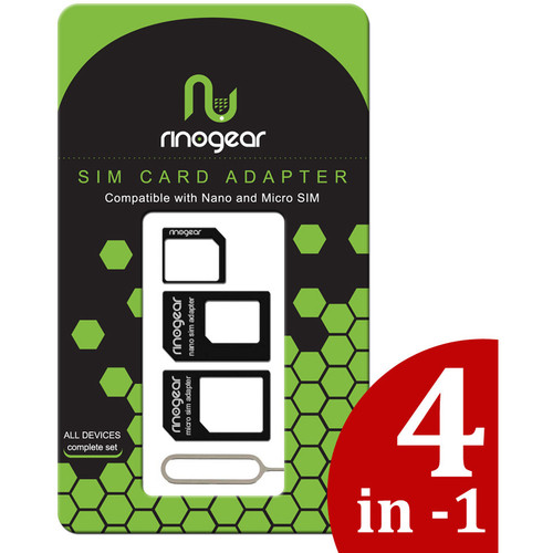 RinoGear 4-in-1 Nano and Micro SIM Card Adapter Kit