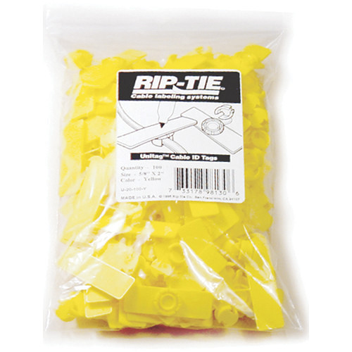 """Rip-Tie Unitag Cable Marker - 0.62 x 2.5"""" (100 Pack, Yellow)"""