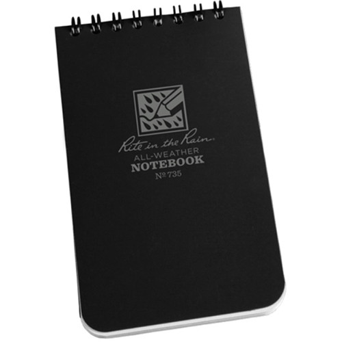 """Rite in The Rain All-Weather Top-Spiral Pocket Notebook (3 x 5"""", Black)"""