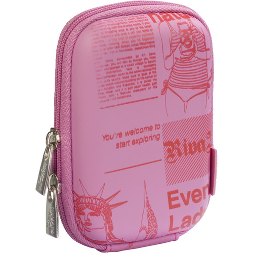 RIVACASE 7023 Series Digital Camera Case for Point and Shoot Cameras (Pink with Newspaper Pattern)