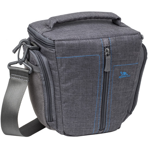 RIVACASE SLR Canvas Case with SLR Cameras with a Zoom Lens (Small, Gray Canvas)