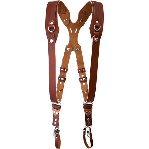 RL Handcrafts Clydesdale Pro Dual Leather Camera Harness (Medium, Tan)