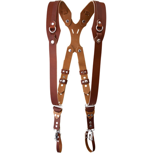 RL Handcrafts Clydesdale Pro Dual Leather Camera Harness (Large, Tan)