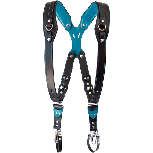 RL Handcrafts Clydesdale DLX Dual Leather Camera Harness (Medium, Black/Teal)