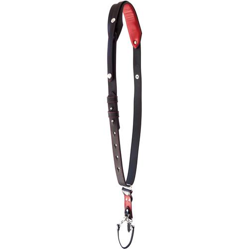 RL Handcrafts Andino Pro-DLX Leather Camera Sling (Medium, Black/Red)
