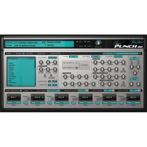 Rob Papen Punch-BD - Bass Drum Software Synthesizer (Download)