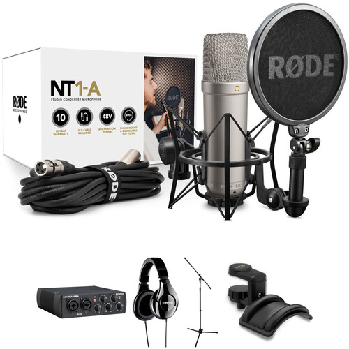Rode NT1-A Vocal Recording Kit with Audio Interface, Headphones & Mic Stand