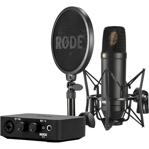Rode Complete Studio Kit with AI-1 Audio Interface, NT1 Microphone, SM6 Shockmount, and XLR Cable