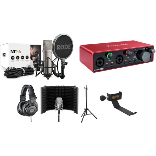 Rode NT1A Complete Vocal Recording Kit with Focusrite Scarlett 2i2 USB Interface, Headphones & More