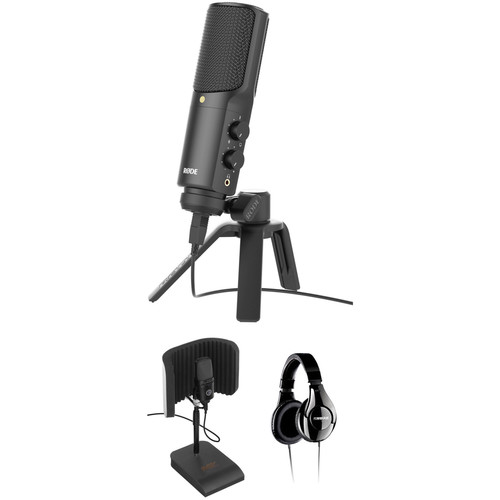 Rode NT-USB, USB Microphone with Reflection Filter and Headphones Value Bundle Kit
