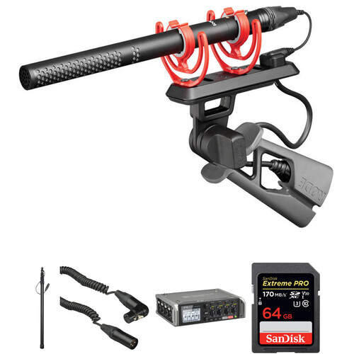 Rode NTG5 Shotgun Microphone Kit with Zoom F4 Recorder & Boompole