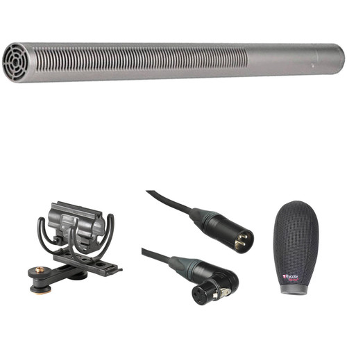 Rode NTG3 Moisture-Resistant Shotgun Microphone Kit with Shoe Shockmount, Windshield, and XLR Cable (Satin Nickel)