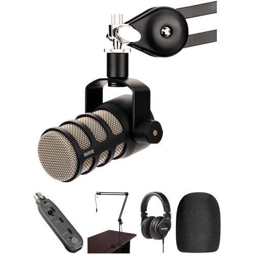 Rode PodMic Microphone with USB Interface, Broadcast Arm, and Headphone Kit