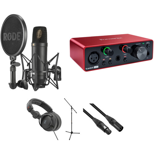 Rode NT-1 Cardioid Condenser Microphone with SMR Shockmount, Focusrite Interface & More