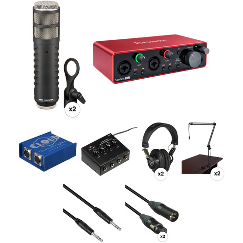 Rode Procaster Dynamic Podcasting Microphone Kit with Focusrite Scarlett 2i2 Audio interface & Multiple Accessories