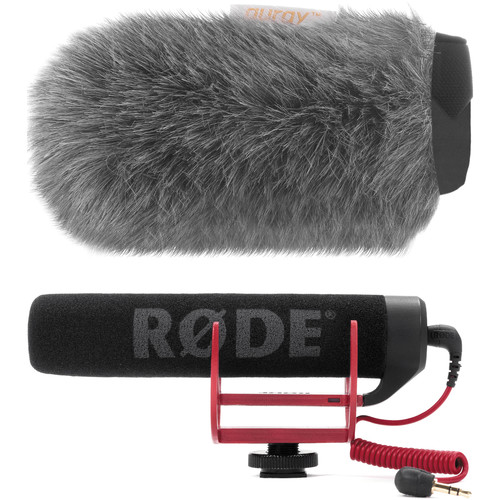 Rode VideoMic GO Camera-Mount Shotgun Microphone Kit with Auray Custom Windshield