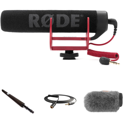 Rode VideoMic GO Camera-Mount Shotgun Microphone Kit with Micro Boompole, Windshield, and Extension Cable