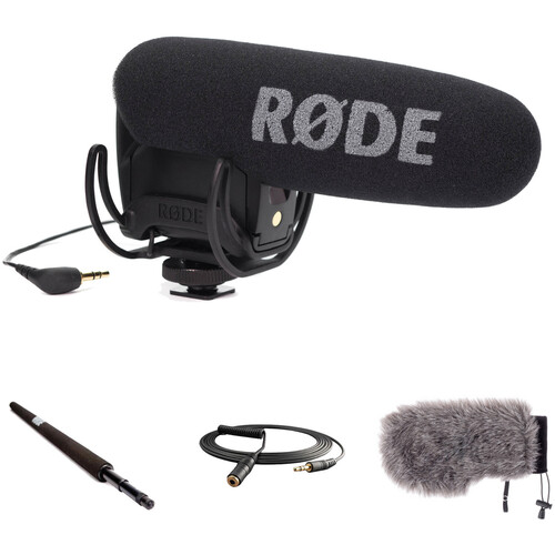 Rode VideoMic Pro Camera-Mount Shotgun Microphone Kit with Micro Boompole, Windshield, and Extension Cable