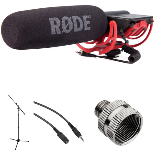 Rode VideoMic Camera-Mount Shotgun Microphone Kit with Studio Mic Stand and Extension Cable