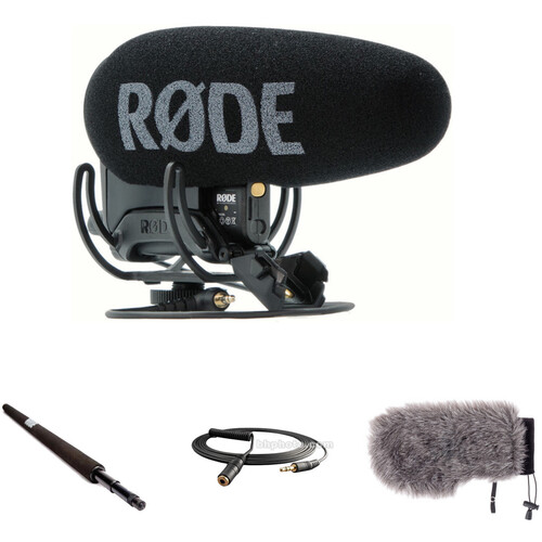 Rode VideoMic Pro+ Camera-Mount Shotgun Microphone Kit with Micro Boompole, Windshield, and Extension Cable