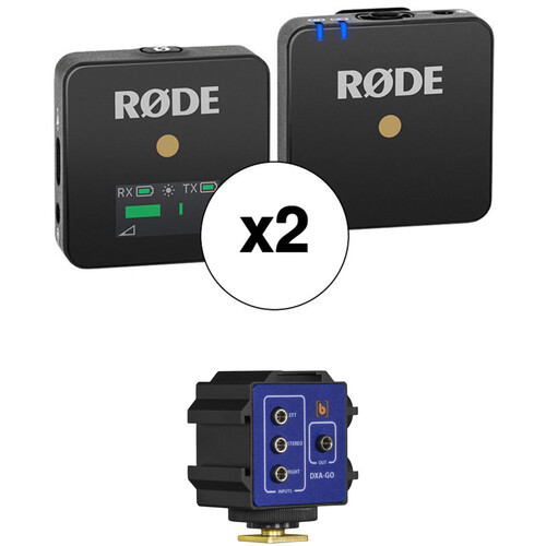 Rode Wireless GO 2-Person Compact Digital Wireless Microphone System Kit with Mixer Adapter/Bracket (2.4 GHz, Black)