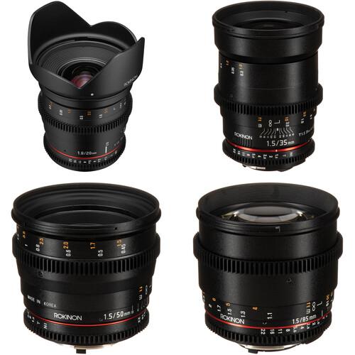 Rokinon 20, 35, 50, 85mm Cine DS Lens Bundle (Nikon F Mount)