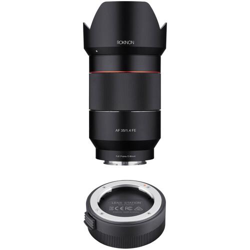 Rokinon AF 35mm f/1.4 FE Lens with Lens Station Kit for Sony E