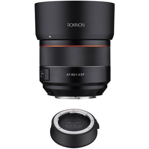 Rokinon AF 85mm f/1.4 EF Lens with Lens Station Kit for Canon EF