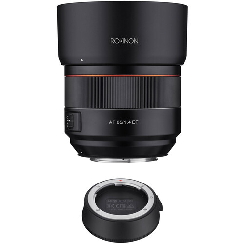 Rokinon AF 85mm f/1.4 EF Lens with Lens Station Kit for Canon EF