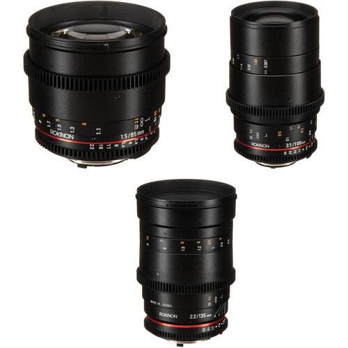 Rokinon Cine DS 85, 100, 135mm Lens Kit (F Mount)