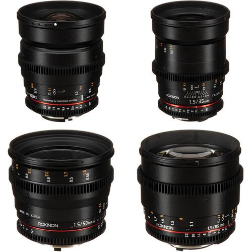Rokinon 24, 35, 50, 85mm T1.5 Cine DS Lens Bundle for Nikon F Mount