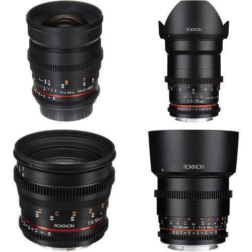 Rokinon 24, 35, 50, 85mm T1.5 Cine DS Lens Bundle for Canon EF Mount