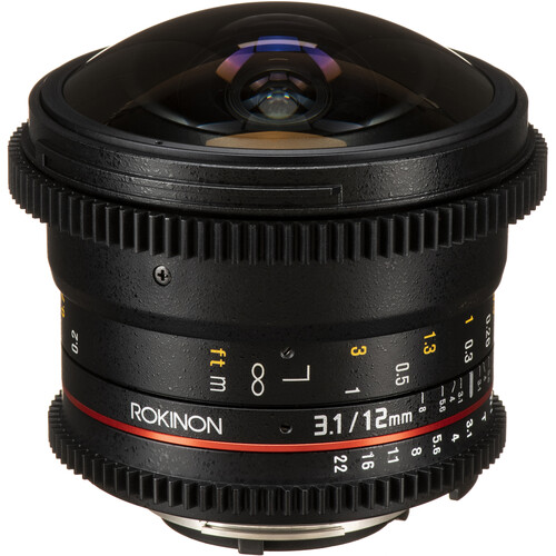 Rokinon 12mm T3.1 ED AS IF NCS UMC Cine DS Fisheye Lens for Nikon F Mount