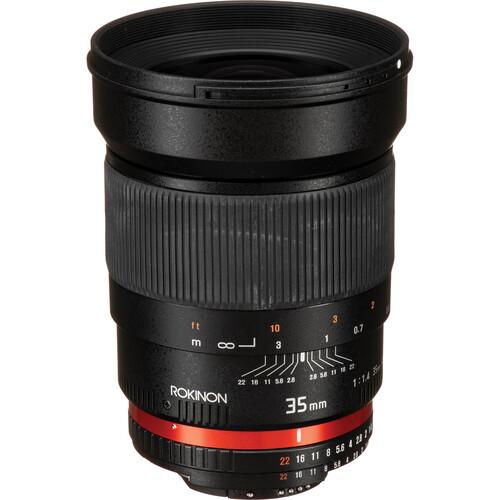 Rokinon 35mm f/1.4 AS UMC Lens for Nikon F (AE Chip)