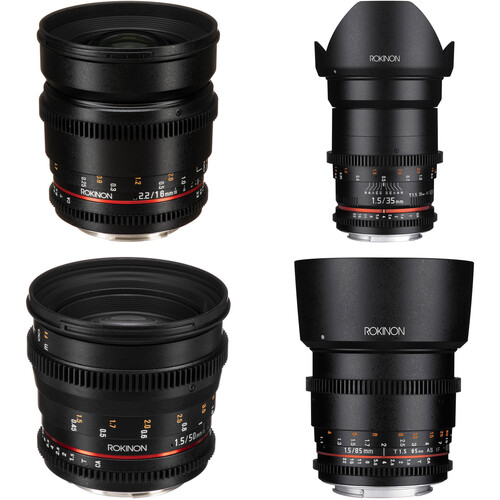 Rokinon 16, 35, 50, 85mm Cine DS Lens Bundle for Canon EF Mount
