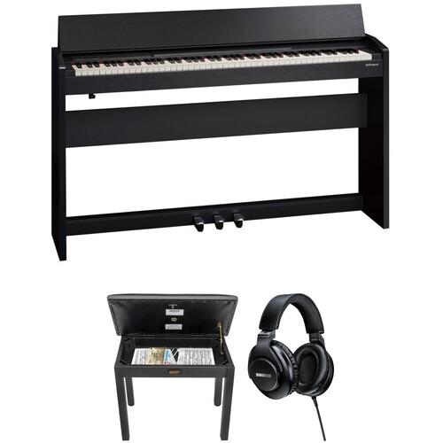 roland f140r digital piano with home studio kit black b h. Black Bedroom Furniture Sets. Home Design Ideas