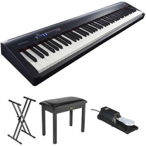 Roland FP-30 Digital Piano Kit with Stand, Bench, and Sustain Pedal (Black)