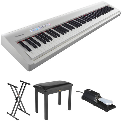 Roland FP-30 Digital Piano Kit with Stand, Bench, and Sustain Pedal (White)
