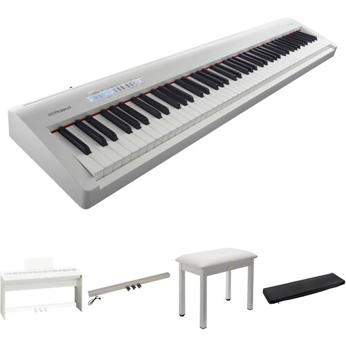 Roland FP-30 Digital Piano Kit with Stand, Pedal Unit, Bench, and Dust Cover (White)