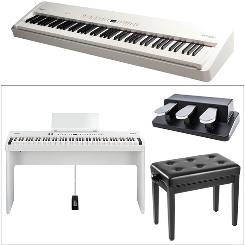 Roland FP-50 Digital Piano Kit with Stand, Bench, and Triple Foot-Pedal (White)