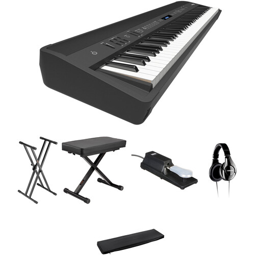 Roland FP-90 88-Key Digital Piano Kit with Stand, Bench, Pedals, Headphones & Dustcover (Black)