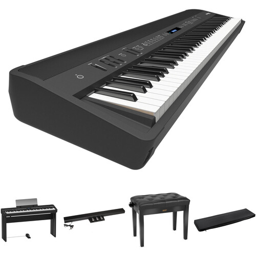 Roland FP-90 Digital Piano Kit with Matching Stand and Pedal Unit (Black)
